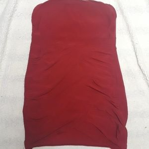 Red tube top dress